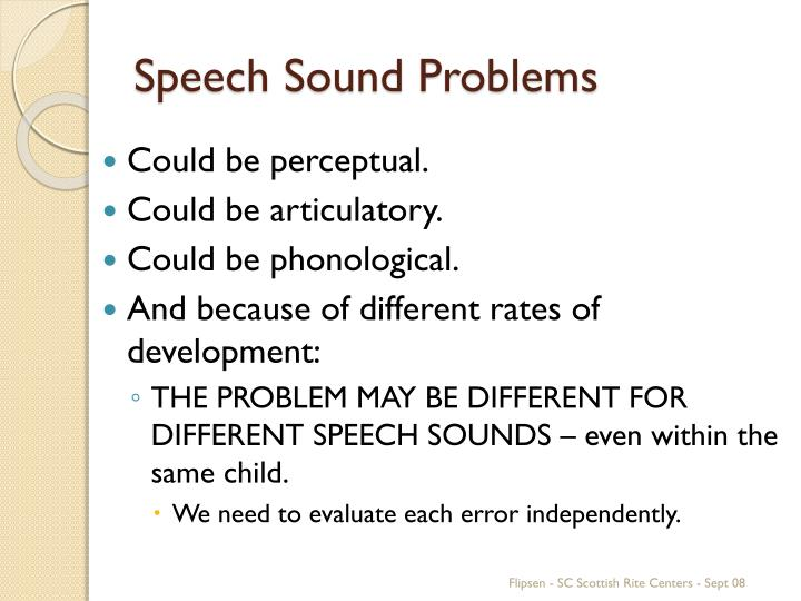 Speech Sound Problems