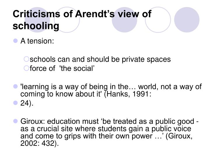 Criticisms of Arendt's view of schooling