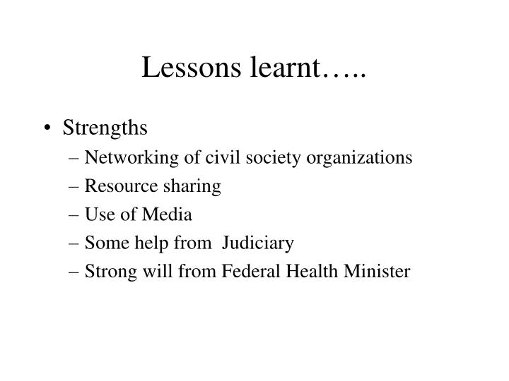 Lessons learnt…..