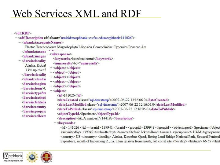 Web Services XML and RDF
