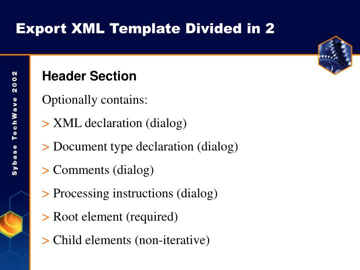 Export XML Template Divided in 2