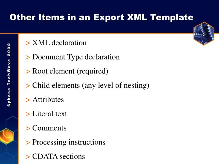 Other Items in an Export XML Template
