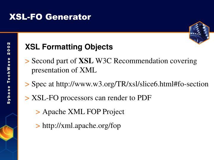 XSL-FO Generator