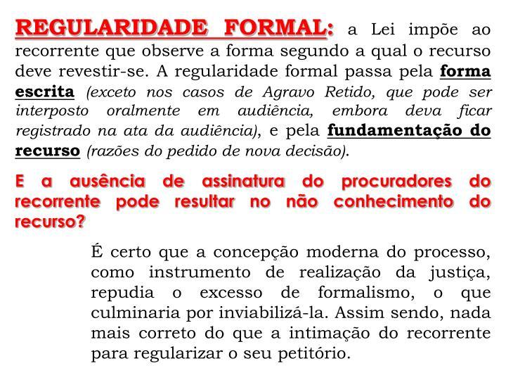 REGULARIDADE FORMAL