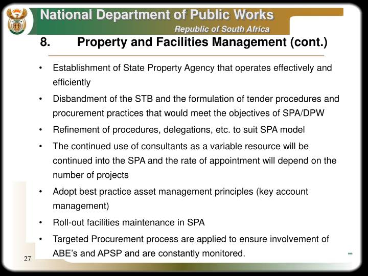 Establishment of State Property Agency that operates effectively and efficiently