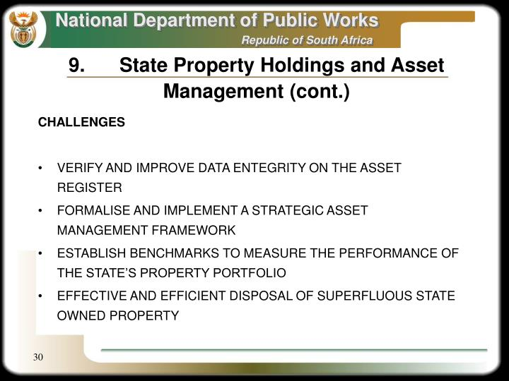 9.	State Property Holdings and Asset Management (cont.)