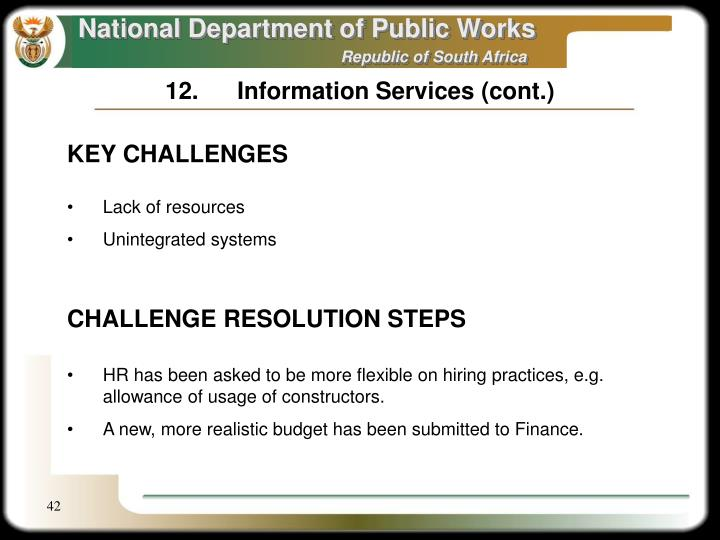 12.Information Services (cont.)