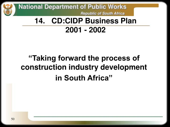 14.	CD:CIDP Business Plan