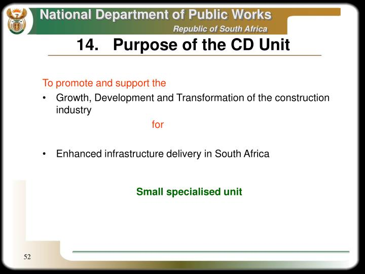 14.	Purpose of the CD Unit