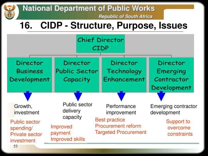 16.	CIDP - Structure, Purpose, Issues