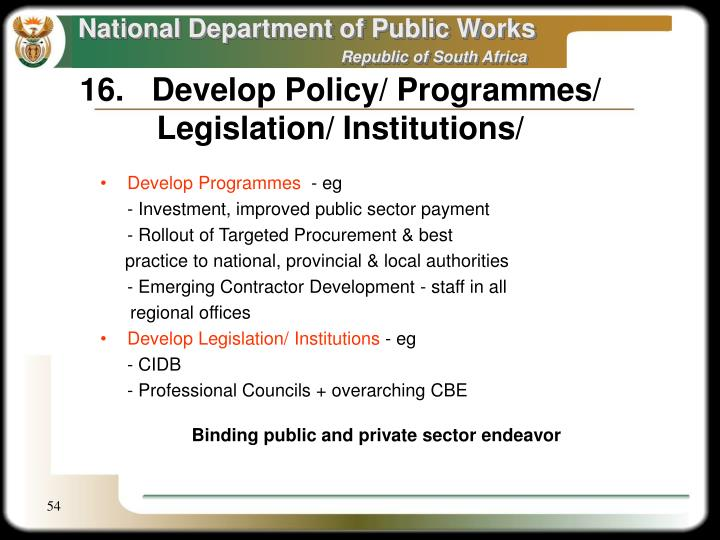 16.	Develop Policy/ Programmes/ Legislation/ Institutions/
