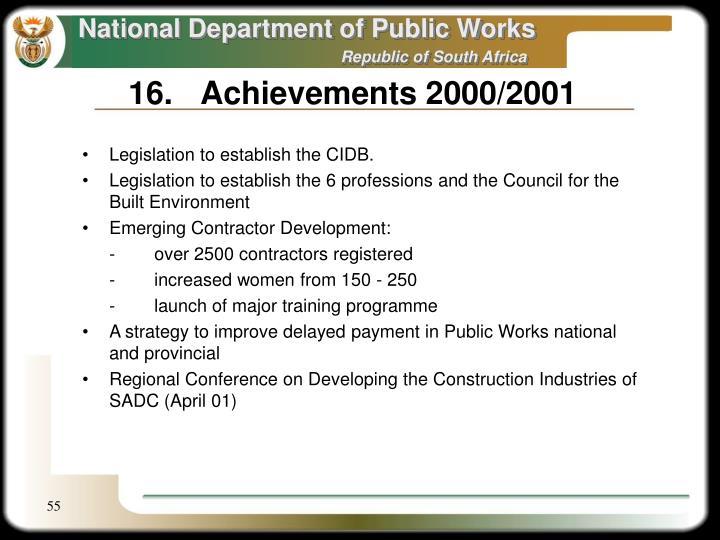 16.Achievements 2000/2001