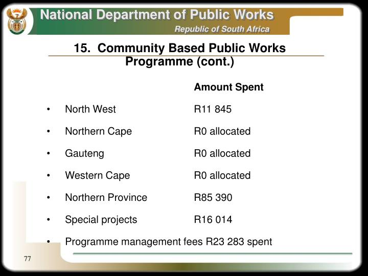 15.  Community Based Public Works Programme (cont.)