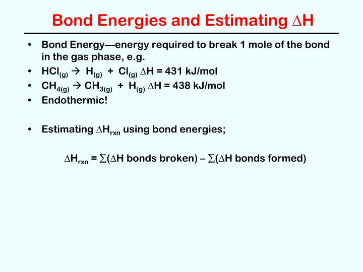 Bond Energies and Estimating