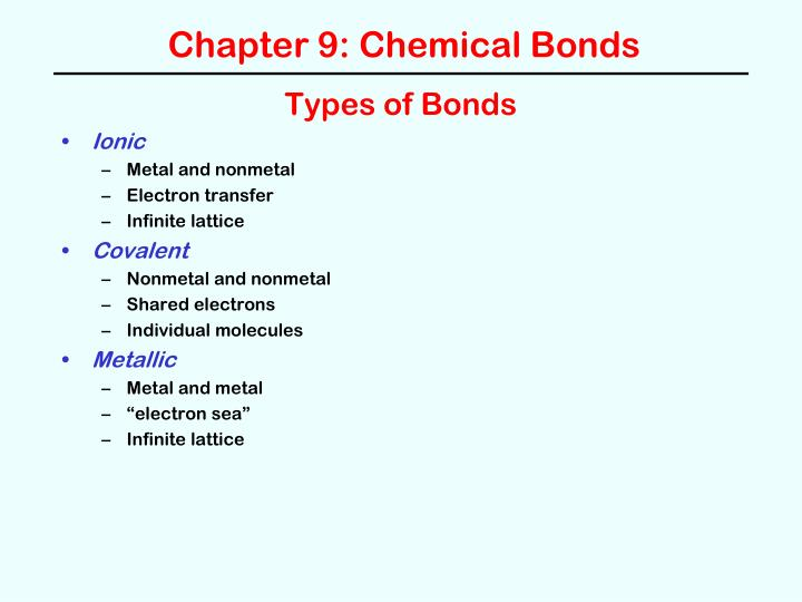 Chapter 9 chemical bonds