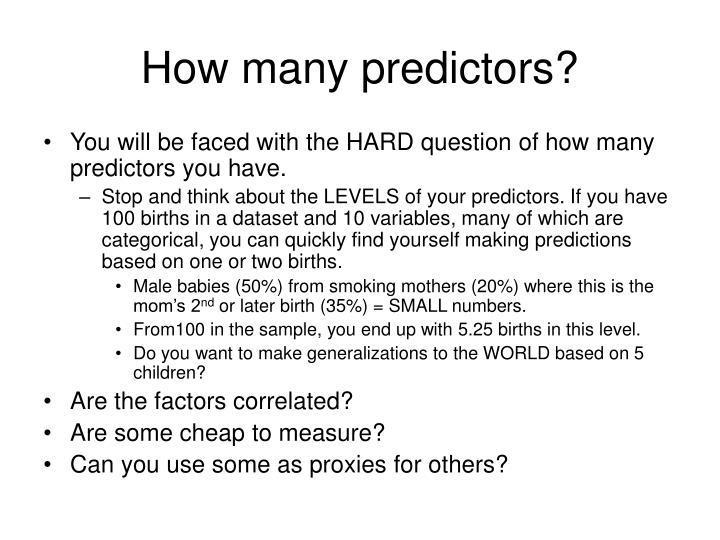 How many predictors?