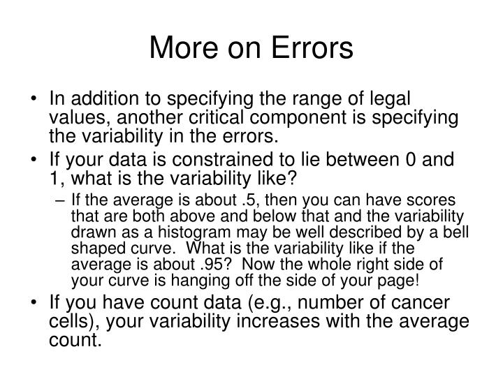 More on Errors