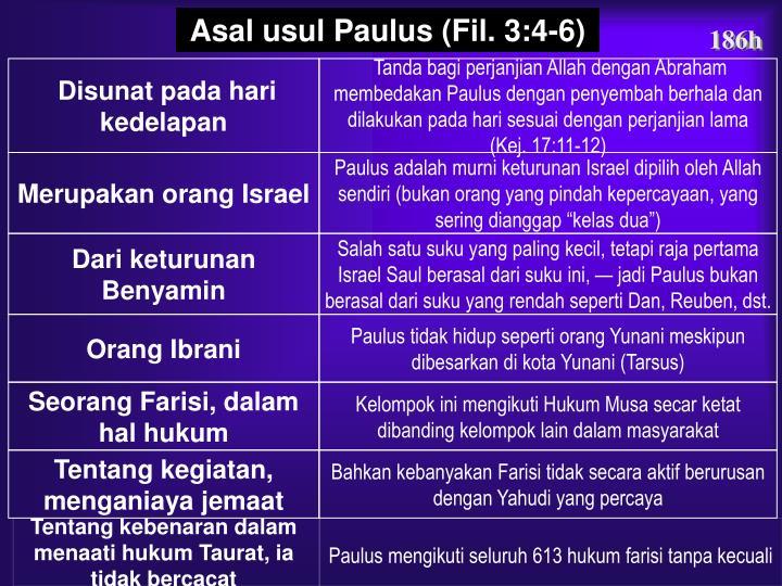 Asal usul Paulus (Fil. 3:4-6)
