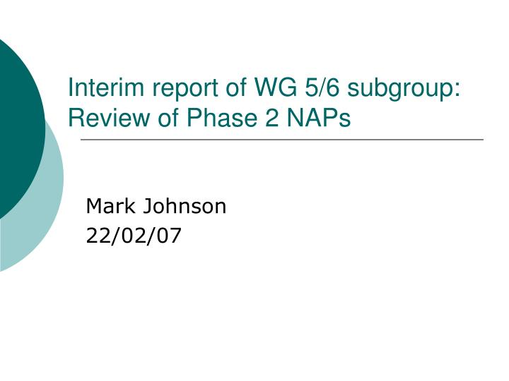 Interim report of wg 5 6 subgroup review of phase 2 naps