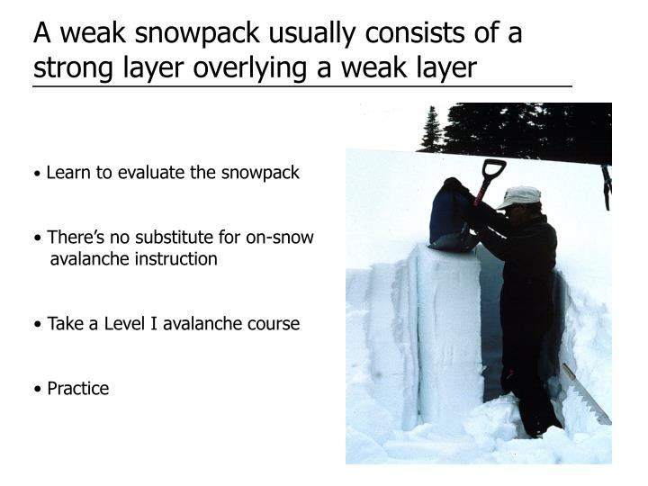 A weak snowpack usually consists of a strong layer overlying a weak layer