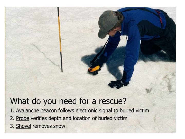 What do you need for a rescue?