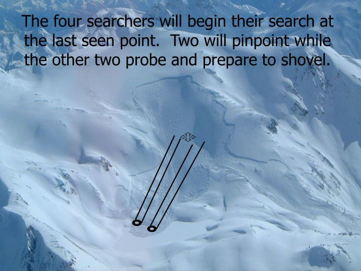 The four searchers will begin their search at the last seen point.  Two will pinpoint while the other two probe and prepare to shovel.