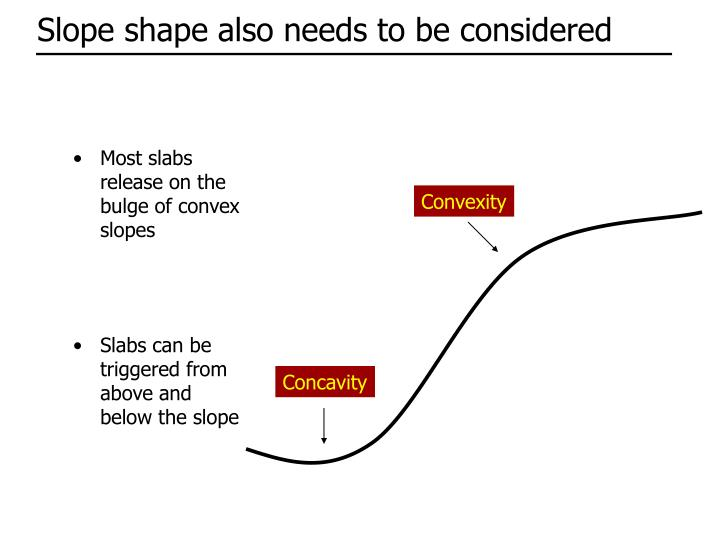 Most slabs release on the bulge of convex slopes