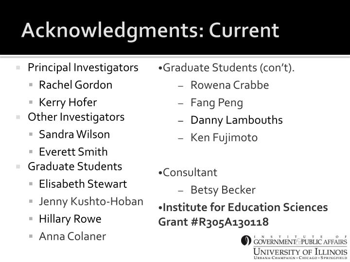 Acknowledgments: Current