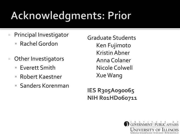 Acknowledgments: Prior