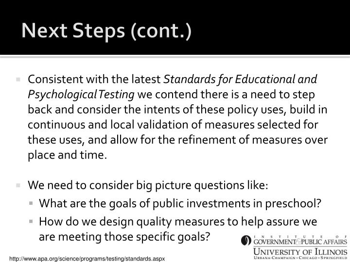 Next Steps (cont.)