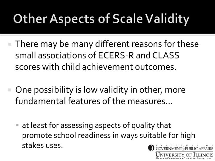 Other Aspects of Scale Validity