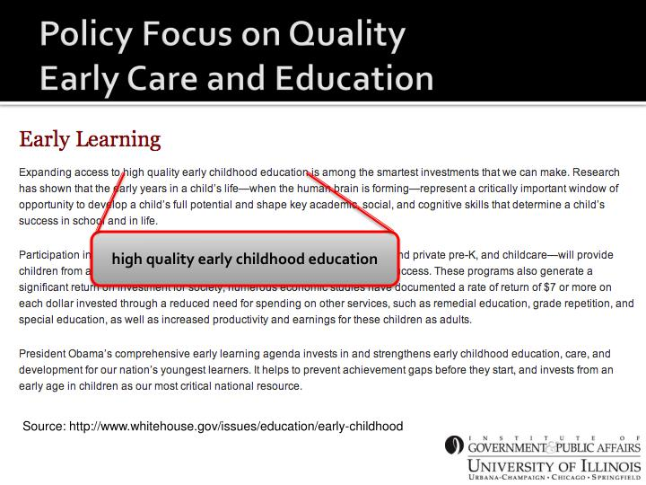 Policy Focus on Quality