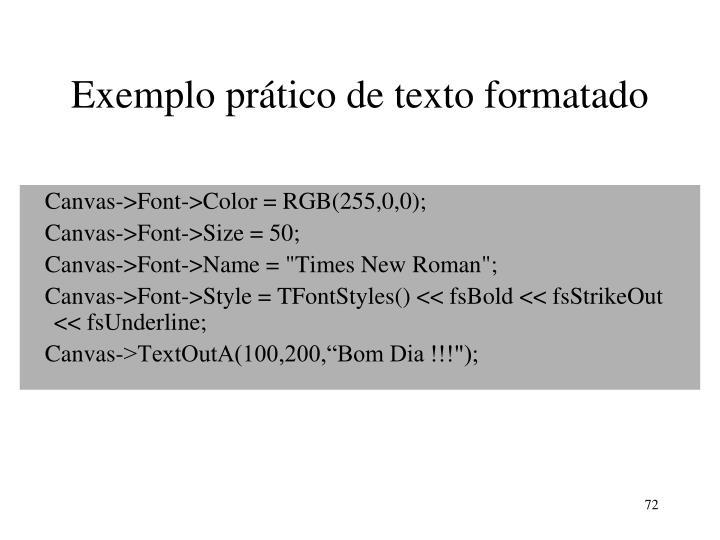 Exemplo prático de texto formatado