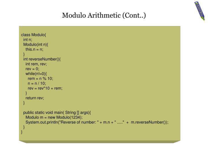 Modulo Arithmetic (Cont..)