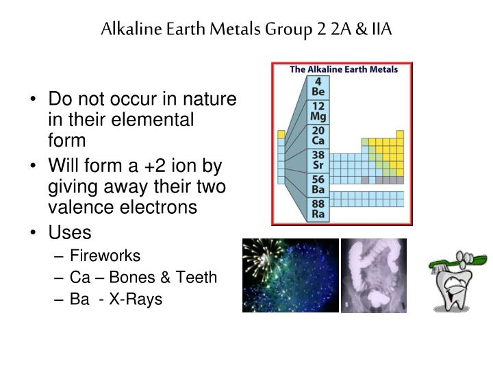 Alkaline Earth Metals Group 2 2A & IIA