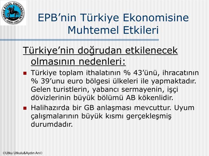 EPB'nin Türkiye Ekonomisine Muhtemel Etkileri