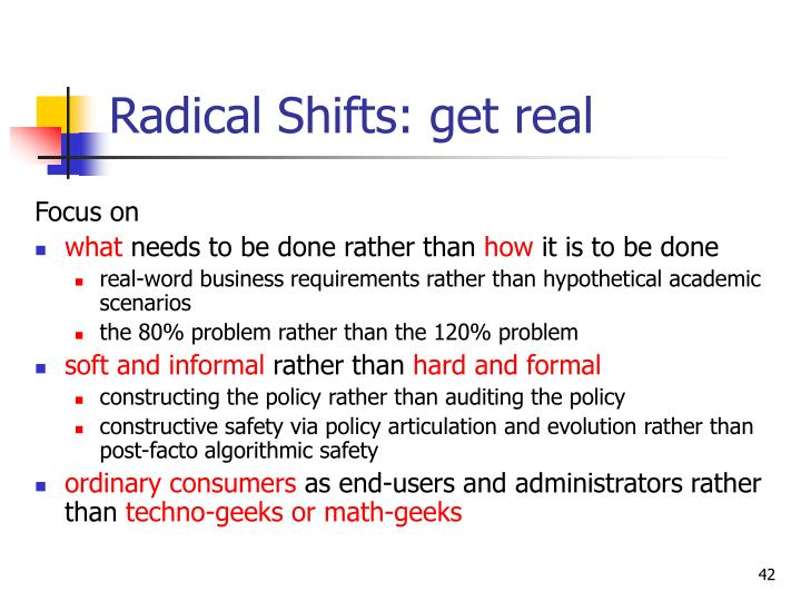Radical Shifts: get real