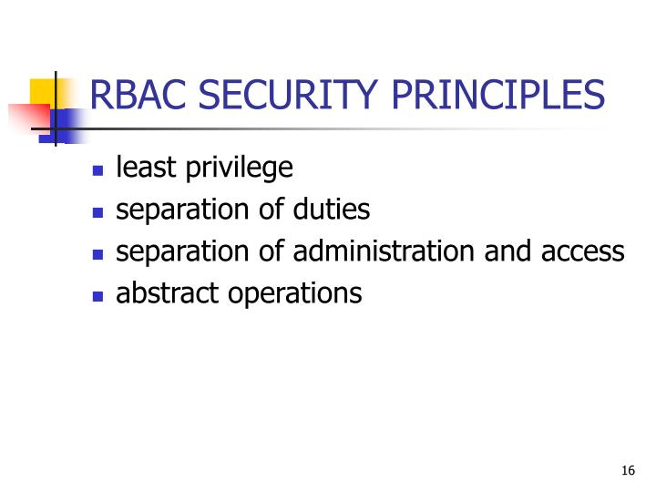 RBAC SECURITY PRINCIPLES