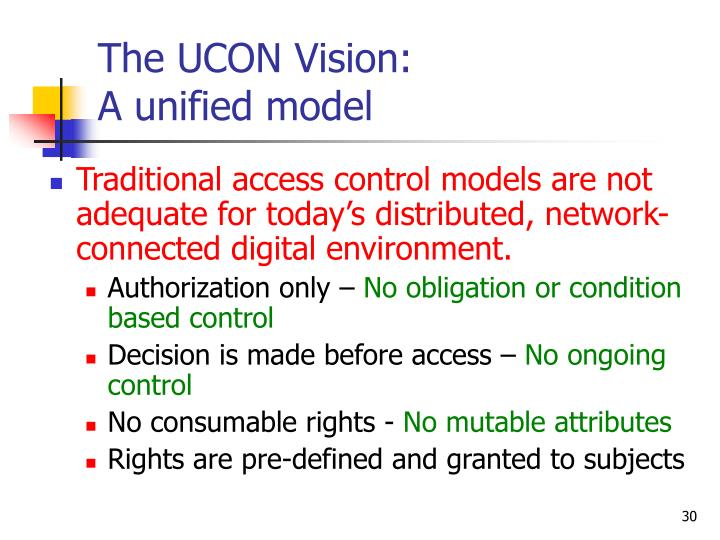 The UCON Vision: