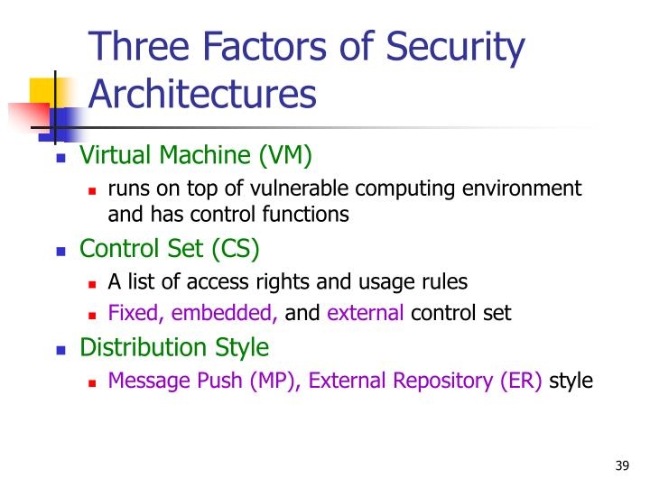 Three Factors of Security Architectures