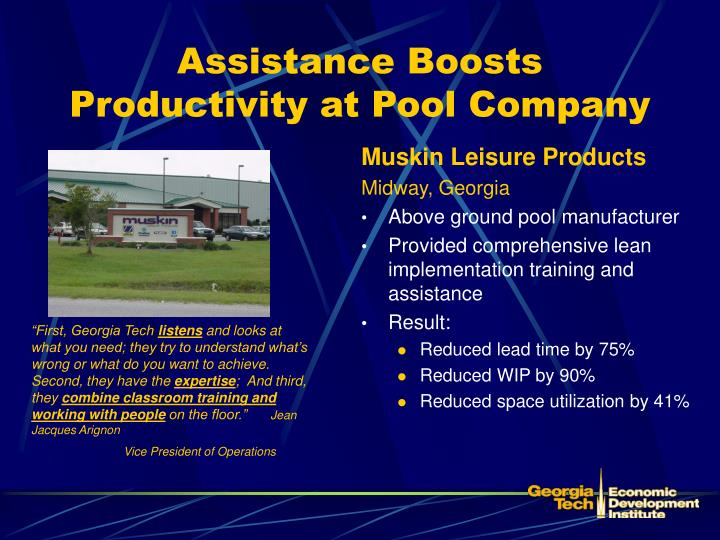 Assistance Boosts Productivity at Pool Company