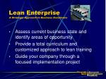 lean enterprise a strategic approach to business excellence