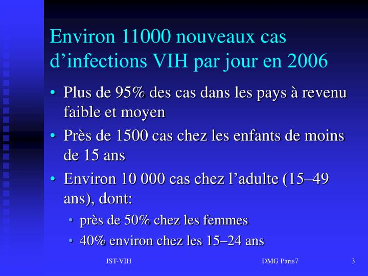Environ 11000 nouveaux cas d'infections VIH par jour en 2006