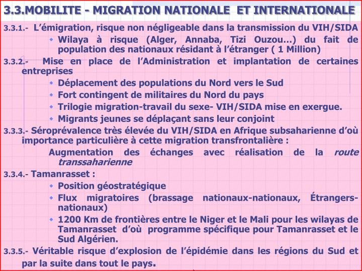 3.3.MOBILITE - MIGRATION NATIONALE  ET INTERNATIONALE