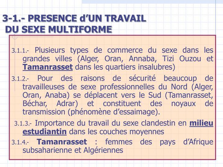 3-1.- PRESENCE d'UN TRAVAIL