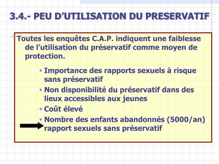 3.4.- PEU D'UTILISATION DU PRESERVATIF