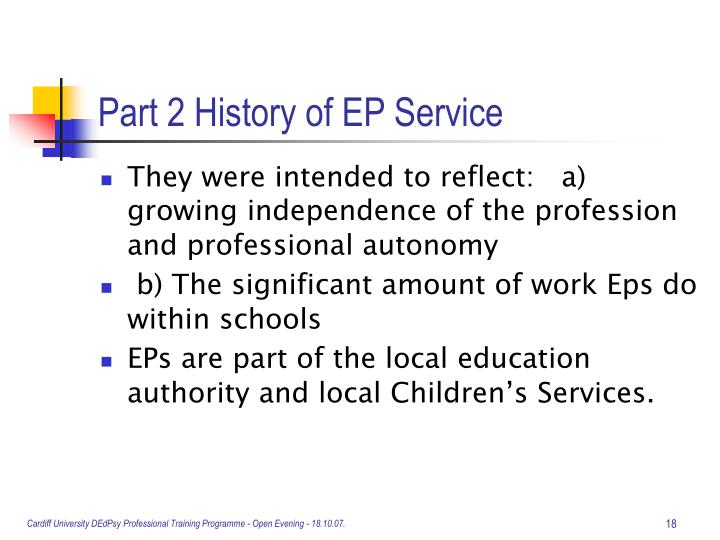 Part 2 History of EP Service