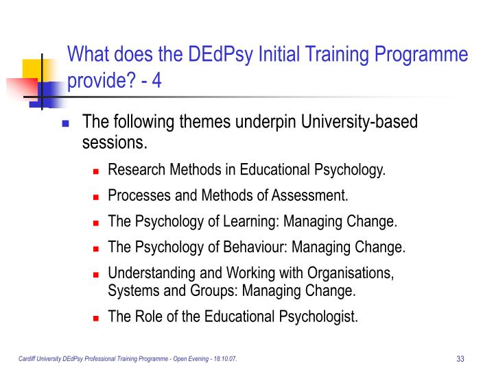 What does the DEdPsy Initial Training Programme provide? - 4