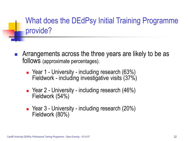 What does the DEdPsy Initial Training Programme provide?