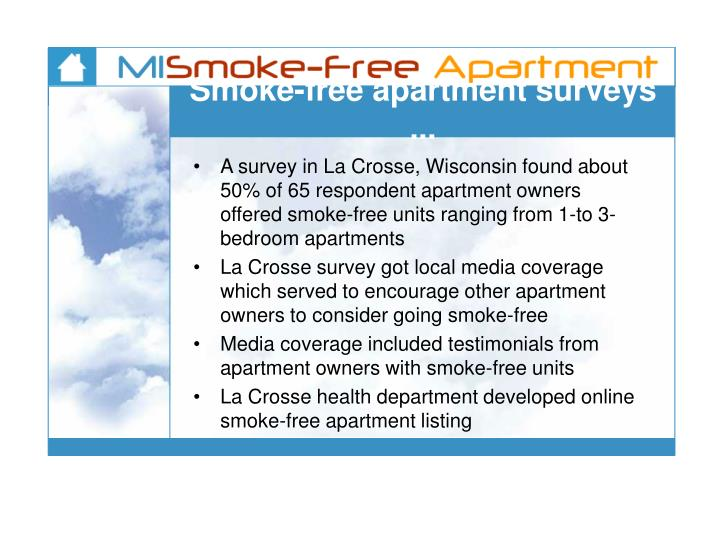 Smoke-free apartment surveys ...